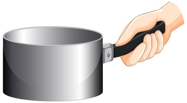Ręka trzyma pusty rondel na białym tle