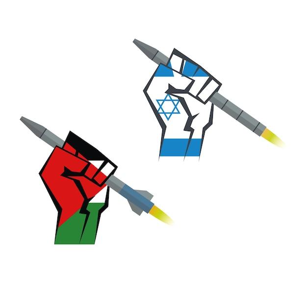 Ręka trzyma rakietę ręka z flagą palestyny i ręka z flagą izraela set