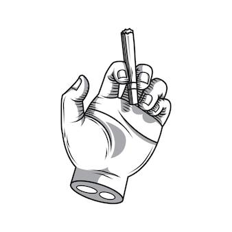 Ręka trzyma rysunek dłoni papierosa