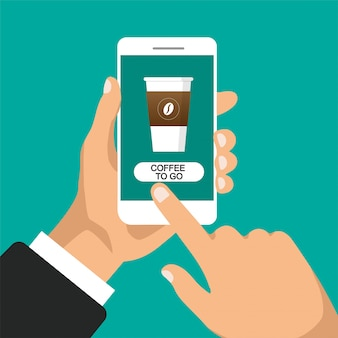 Ręka trzyma smartfon i zamawia kawę online. szklanka kawy na ekranie telefonu. płaska ilustracja. odosobniony.