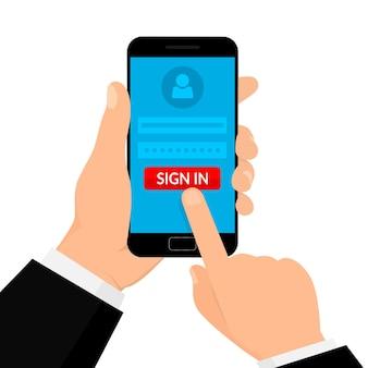 Ręka trzyma smartfon z ilustracja koncepcja konta mobilnego