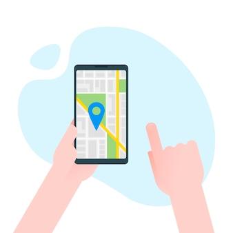 Ręka trzyma smartfon z nawigatorem gps mapy miasta na ekranie smartfona. koncepcja nawigacji mobilnej. nowoczesna prosta płaska konstrukcja banerów internetowych, stron internetowych, infografiki. ilustracja wektorowa kreatywnych.
