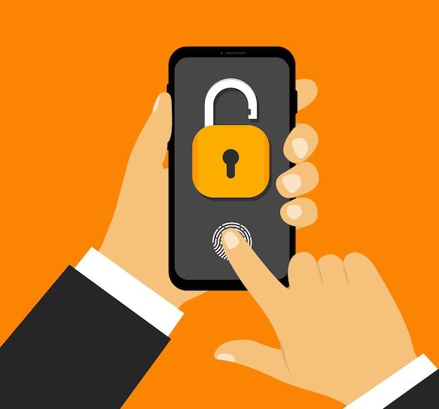 Ręka trzyma smartfon ze skanującym odciskiem palca otwórz kłódkę na ekranie