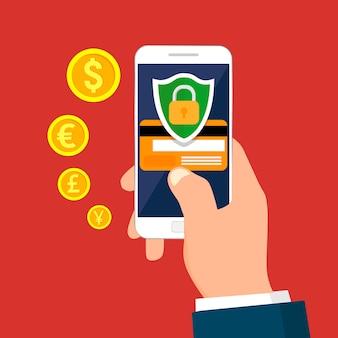 Ręka trzyma smartfona. bezpieczna koncepcja transakcji mobilnych