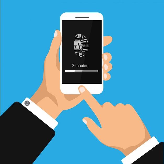 Ręka trzyma smartfona ze skanowaniem aplikacji linii papilarnych na ekranie. identyfikacja lub uwierzytelnianie odcisków palców. ilustracja.