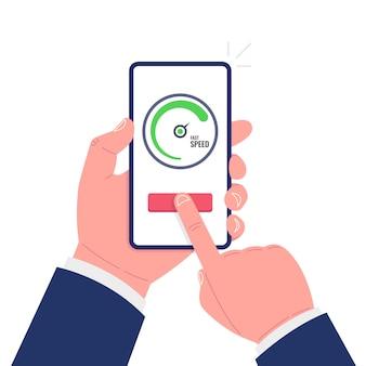 Ręka trzyma smartphone. test prędkościomierza pokazujący szybki, dobry czas ładowania strony. ilustracja wektorowa.