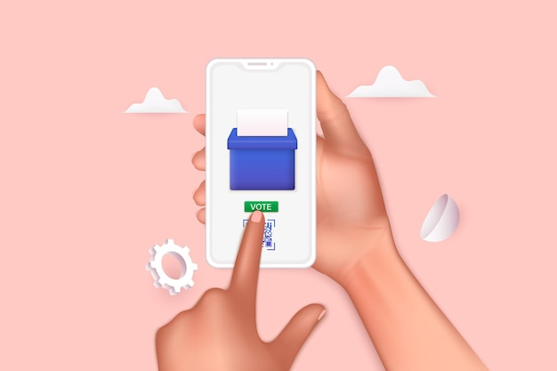 Ręka trzyma smartphone z aplikacją do głosowania na ekranie. systemy i technologie komunikacyjne. ilustracje wektorowe 3d.