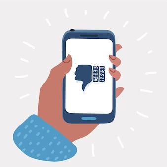Ręka trzyma smartphone z kciukiem w dół na ekranie. znak niechęci jest używany w aplikacji. sieć społecznościowa i media na telefonie komórkowym. elementy graficzne do banerów internetowych, projektowanie stron internetowych. ilustracja kreskówka wektor+