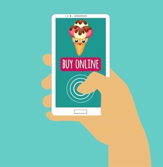 Ręka trzyma smartphone z kupić online. zakupy internetowe. płaska konstrukcja