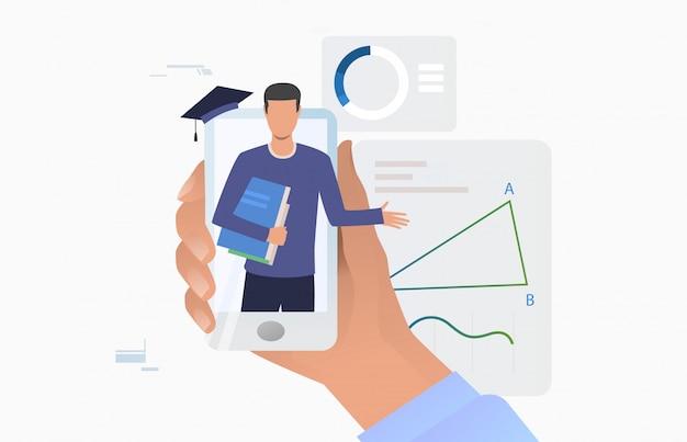 Ręka trzyma smartphone z nauczycielem na ekranie