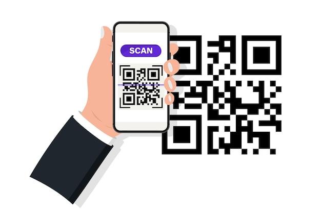Ręka trzyma smartphone ze skanerem kodów qr. skaner kodów qr. skanowanie kodu qr, kodu kreskowego w telefonie komórkowymñ koncepcja płatności zbliżeniowych, zakupów online, technologii bezgotówkowej