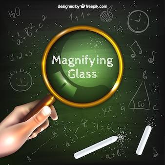 Ręka trzyma szkło powiększające tło w realistyczny styl