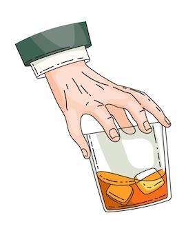Ręka trzyma szkło z mocnym napojem whisky. vintage rysunek ręka. pij tequilę lub whisky, pij gorzałkę w dłoni. kieliszek whisky z lodem na przezroczystym tle.