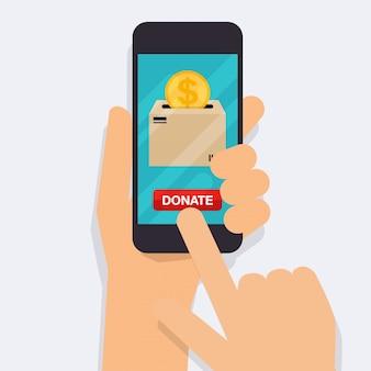 Ręka trzyma telefon inteligentny z pieniędzy darowizny. koncepcja charytatywnej usługi online. płaska ilustracja.