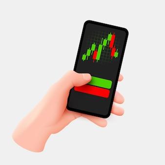 Ręka trzyma telefon komórkowy. analiza trendów rynkowych na smartfonie z wykresem liniowym i wykresami