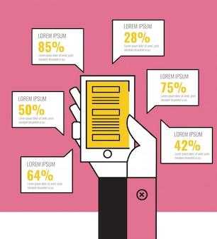 Ręka trzyma telefon komórkowy i mowy pęcherzyki infografiki. płaskie elementy