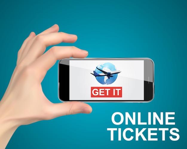 Ręka trzyma telefon komórkowy. kup online bilety lotnicze.