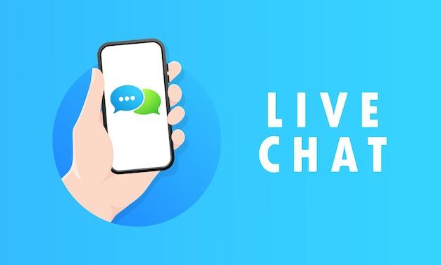 Ręka trzyma telefon komórkowy na ikonie ekranu. czat na żywo. powiadomienie na ekranie smartfona o nowej wiadomości. wysyłanie i odbieranie koncepcji wiadomości. do projektowania stron internetowych i banerów.