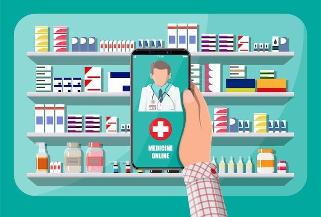 Ręka trzyma telefon komórkowy z aplikacji zakupy apteka internetowa. fasada sklepu aptecznego. pomoc medyczna, pomoc, wsparcie online. aplikacja opieki zdrowotnej na smartfonie. ilustracja wektorowa w stylu płaski