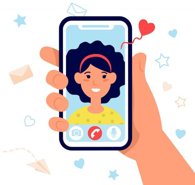 Ręka trzyma telefon na białym tle ilustracji wektorowych płaski
