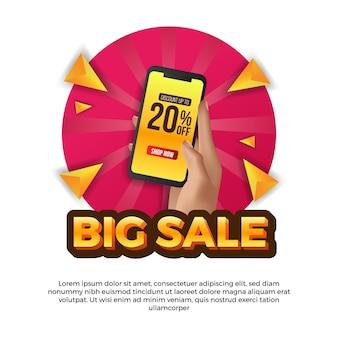 Ręka trzyma telefon na duży szablon sprzedaży mediów społecznościowych. reklama promocja marketingowa dla produktów przecenionych w handlu