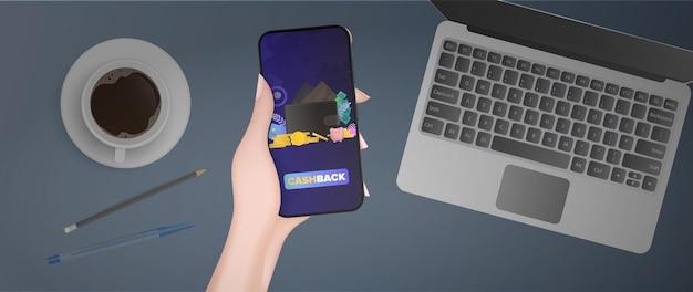 Ręka trzyma telefon z cashbackiem. brązowy portfel z kartami kredytowymi i złotymi monetami. pojęcie oszczędności i akumulacji pieniędzy. dobry do prezentacji i artykułów na temat biznesowy.