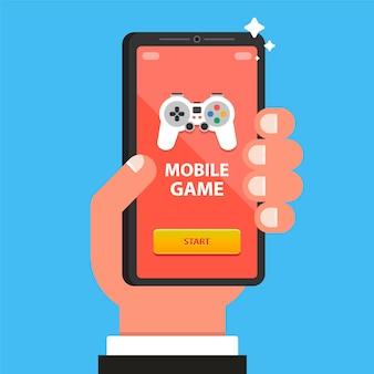 Ręka trzyma telefon z grą mobilną. płaska ilustracja