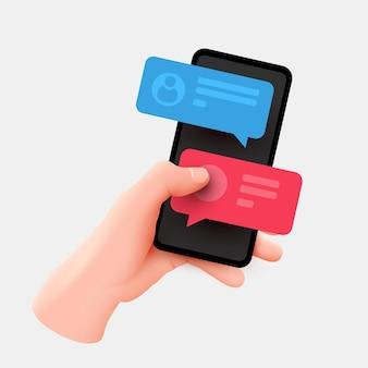 Ręka trzyma telefon z krótkimi wiadomościami. kolorowe dymki na ekranie smartfona