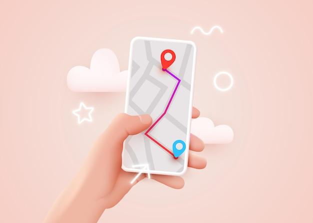 Ręka trzyma telefon z mapą i wskaźnikiem mobilnej nawigacji gps i śledzenia