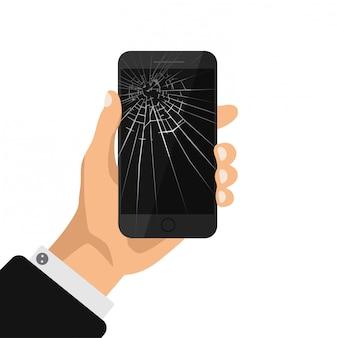 Ręka trzyma telefon z podziałem czarny ekran. uszkodzony telefon komórkowy na białym tle. napraw ikonę telefonu komórkowego. ilustracja.