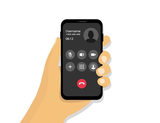 Ręka trzyma telefon z połączeniem przychodzącym. interfejs połączeń przychodzących w stylu kreskówkowym.