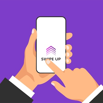 Ręka trzyma telefon z przyciskiem szybkiego dostępu do mediów społecznościowych na ekranie. strzałki przewijania i ikony internetowe dla reklam i marketingu w różnych aplikacjach. mężczyzna przesuwa się po ekranie smartfona.