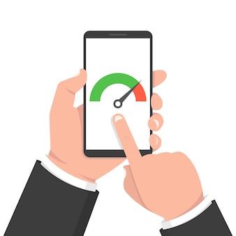 Ręka trzyma telefon z testem prędkości