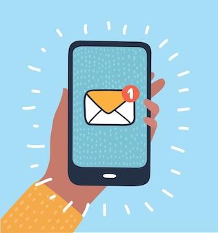 Ręka trzyma w ręku inteligentny telefon z e-mailem sieci społecznościowej