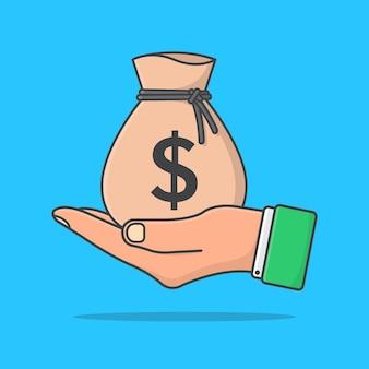 Ręka trzyma worek pieniędzy. worek pieniędzy w ręku na płasko