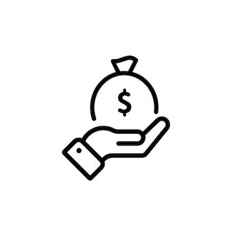 Ręka trzyma worek z ikoną pieniędzy w kolorze czarnym. znak worek pieniędzy. wektor na na białym tle. eps 10.