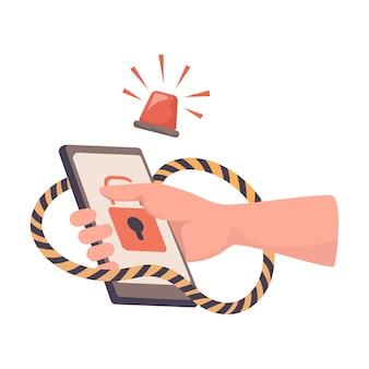 Ręka trzyma zhakowany smartfon wektor płaski ilustracja atak hakera phishing