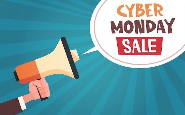 Ręka trzymać megafon z cyber poniedziałek sprzedaż wiadomości w bubble chat na pin up comic design tła