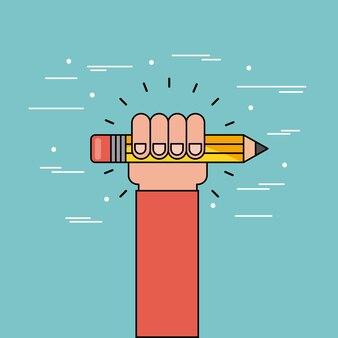 Ręka trzymać ołówek płaski