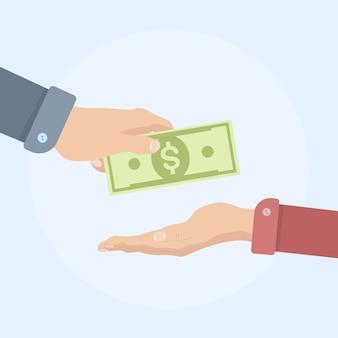 Ręka trzymać rachunki pieniężne. mężczyzna daje gotówkę. płatność gotówką, darowizny, inwestycje, cele charytatywne