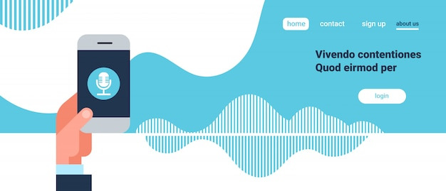 Ręka trzymać telefon aplikacja inteligentny głos osobisty asystent rozpoznawanie fale dźwiękowe, koncepcja technologii sztuczna inteligencja