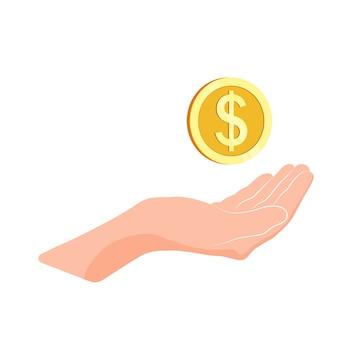 Ręka trzymać złotą monetę