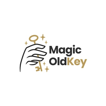 Ręka trzymaj stary klucz magiczny mistyczny szablon logo
