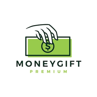 Ręka trzymaj szablon logo prezentu pieniędzy