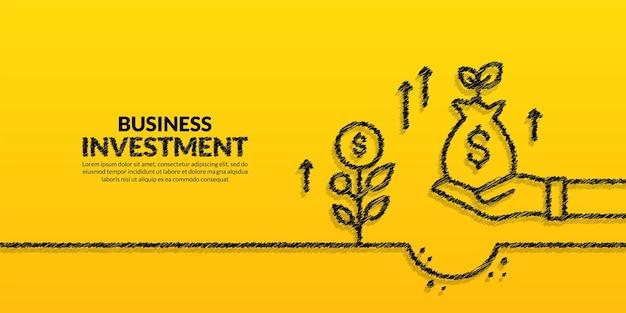 Ręka trzymaj worek pieniędzy z roślinnym tłem strategia biznesowa i koncepcja zwrotu z inwestycji