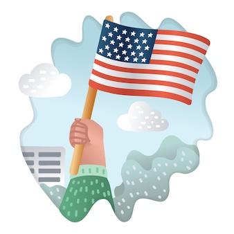 Ręka trzymająca flagę usa. vintage grawerowanie stylizowany rysunek koncepcyjny. ilustracja
