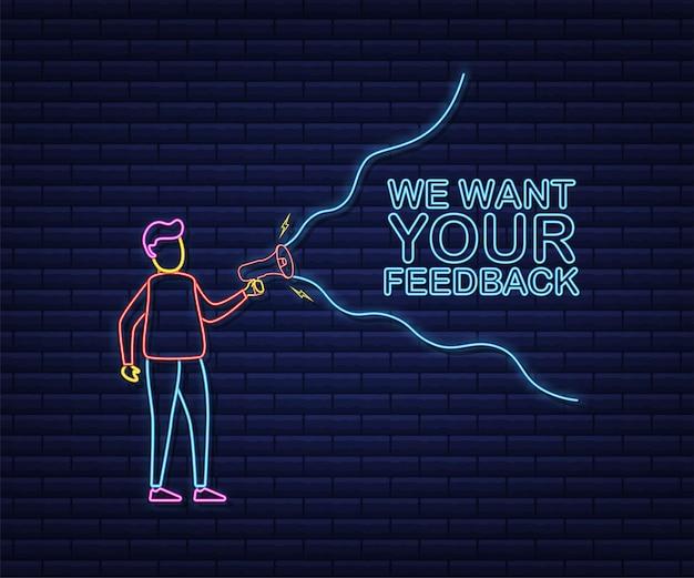 Ręka trzymająca megafon z chcemy twoją opinię. megafon transparent. projektowanie stron. neonowy styl. czas ilustracja wektorowa.