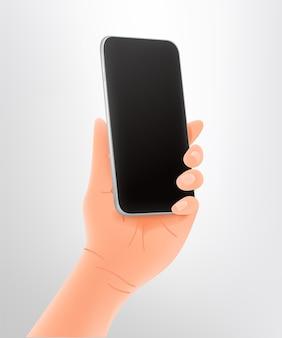Ręka trzymająca nowoczesny smartfon premium biały