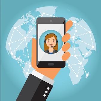 Ręka trzymająca telefon z żeńskim call center