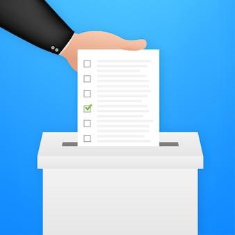 Ręka umieszcza biuletyn głosowania w polu głosowania. koncepcja głosowania. urna wyborcza. czas ilustracja wektorowa.